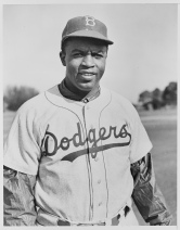 Jackie Robinson, the first ever African-American MLB player, in his Dodgers uniform