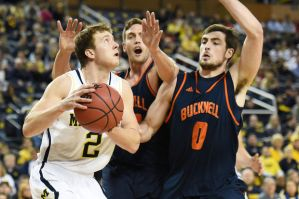 Spike Albrecht under the basket from Mlive.com