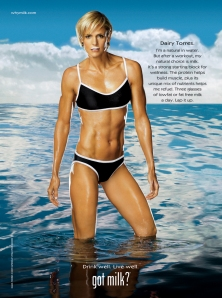 "Dara Torres, an olympic swimmer, poses for ""Got Milk?"""