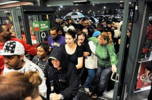 Shoppers storm in when the store opens.