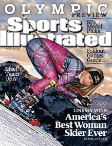 "Olympic skier Lindsey Vonn poses for ""Sports Illustrated."""