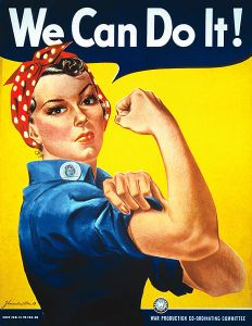 Rosie the Riveter, a historic symbol of feminist power and equal ability for both genders.