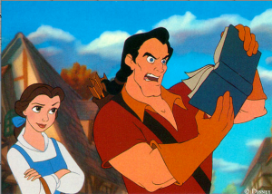 A man and woman portrayed in Disney's Beauty and the beast.