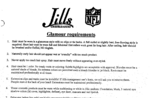 "An excerpt from the Jills ""Glamour Requirements"""