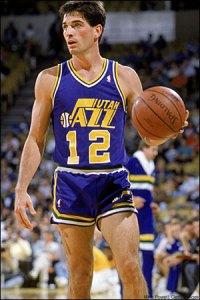 Former NBA player John Stockton wearing old school short shorts