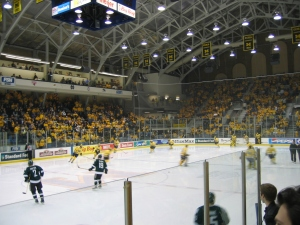 The University of Michigan Hockey Team Warming up Before a Game.