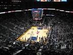An empty stadium before a WNBA game.